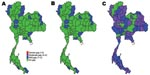 Thumbnail of Gaps in health system resources (internal medicine physicians) likely to occur for 3 scenarios of prepandemic influenza across provinces, Thailand. A) Scenario 1; B) scenario 2; C) scenario 3.