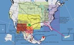 Thumbnail of Current distribution of major rabies virus (RV) lineages associated with terrestrial carnivores and dogs in the United States and Mexico. Translocation movements proposed on the basis of the phylogenetic analysis (bidirectional arrows in colors) and confirmed translocations events on the basis of descriptive and epizootiologic investigations are shown. Boldface indicates RV lineages associated with rabies enzootics autochthonous for the New World (not associated with dogs).