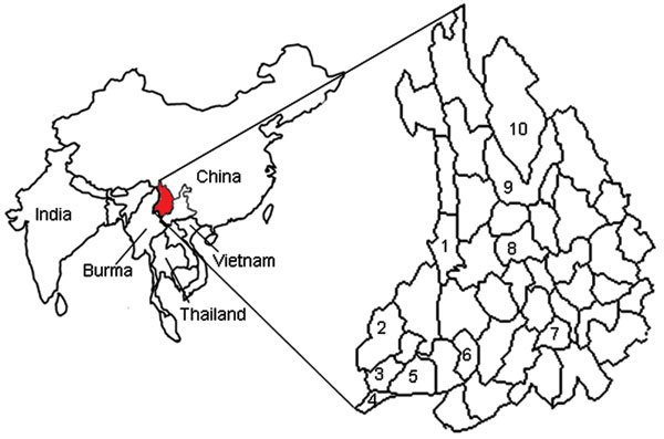 Counties in the Hengduan Mountain region of Yunnan Province where Kyasanur Forest disease virus antibody has been detected. 1, Lushuii County, antibody found in 31.6% of humans, 25.5% of birds, and 15.4% of rodents; 2, Yingjiang County, antibody found in 46.7% of humans; 3, Longchuang County, antibody found in 6.4% of humans; 4, Ruili County, antibody found in 7.7% of humans; 5, Mangshi County, antibody found in 32.5% of humans; 6, Shidan County, antibody found in 6.3% of humans; 7, Nanjian Coun