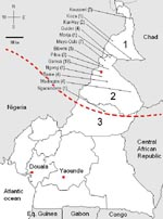 Thumbnail of Map of Cameroon showing the geographic distribution of 53 laboratory-confirmed cases of serogroup W135 meningococcal meningitis (2007-2008). 1, Extreme North Province; 2, North Province; 3, Adamaoua Province; dashed line, southern limit of the African meningitis belt. The number of confirmed cases in a given place is indicated in parentheses. Eq. Guinea, Equatorial Guinea.