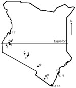 Thumbnail of Map of Kenya showing the locations of 17 bat collection sites.