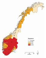 Thumbnail of Proportion of oseltamivir-resistant influenza viruses A (H1N1) in the 2007–08 influenza season in Norway, by county of sampling. The total number of samples analyzed for each county is given inside each county.