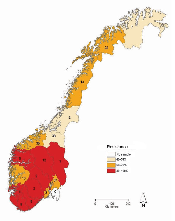 Proportion of oseltamivir-resistant influenza viruses A (H1N1) in the 2007–08 influenza season in Norway, by county of sampling. The total number of samples analyzed for each county is given inside each county.