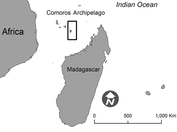 Location of Mayotte (boxed) in the Comoros Archipelago. Source: Préfecture de Mayotte.