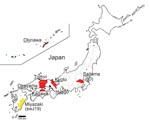 Thumbnail of Map of Japan showing prefectures where human cases of hepatitis E virus have been found. Underlining indicates part of prefecture name included in isolate name; yellow indicates cases in swine; red indicates cases in humans.
