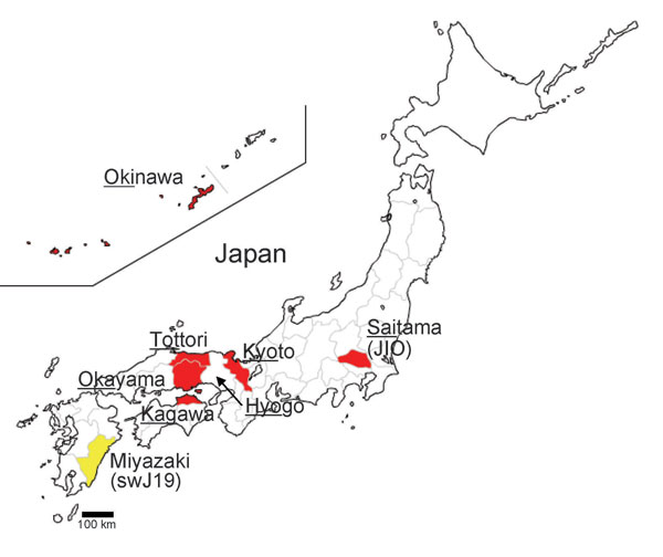 Map of Japan showing prefectures where human cases of hepatitis E virus have been found. Underlining indicates part of prefecture name included in isolate name; yellow indicates cases in swine; red indicates cases in humans.