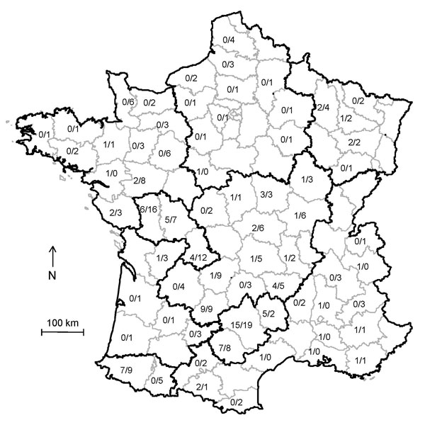 Distribution of cases of atypical scrapie and controls (no. cases/no. controls) in sheep, France, 2007. Sheep production areas are outlined in black, and counties are outlined in gray.