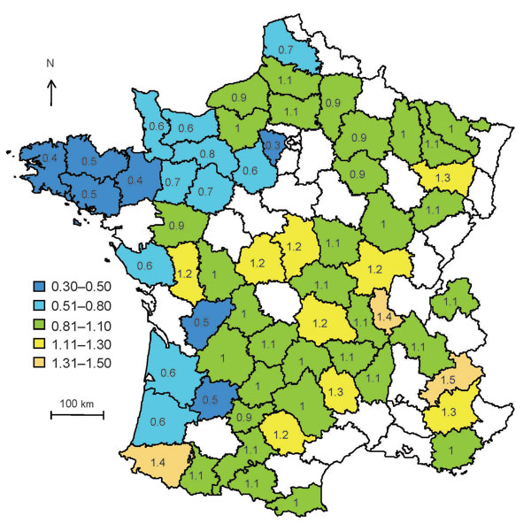 Distribution of control weightings calculated as the ratio of the percentage of flocks with >20 ewes in the county over the average percentage of flocks with >20 ewes for atypical scrapie in sheep, in France, 2007. Ranges represent classes of weightings.