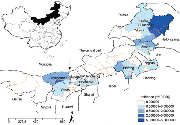 Geographic distribution and average annual incidence of hemorrhagic fever with renal syndrome by district in Inner Mongolia, China, 2001–2006. Arrows mark, from left to right, divisions between western, central, and eastern Inner Mongolia.