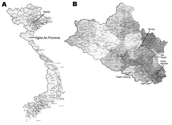 A) Location of Nghe An Province in northern Vietnam. B) Location of the 5 selected districts from which households were selected for investigation of fish-borne zoonotic trematodes in domestic animals.