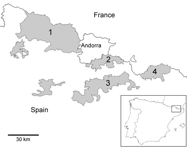 Map of northeastern Spain showing the National Hunting Reserves in Catalonia (shaded areas): 1, Pallars-Aran; 2, Cerdanya-Alt Urgell; 3, Cadí; 4, Freser-Setcases.