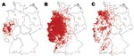 Thumbnail of Maps showing outbreaks of bluetongue disease among all affected species in Germany in A) 2006, B) 2007, and C) 2008 (through August 31). Red dots indicate confirmed cases/outbreaks.