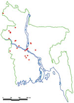 Thumbnail of Locations of human Nipah virus introductions (red dots), Bangladesh, 2001–2007.