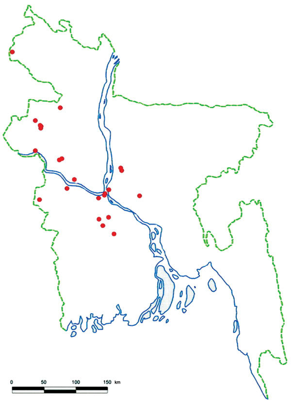Locations of human Nipah virus introductions (red dots), Bangladesh, 2001–2007.