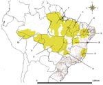 Thumbnail of Locations of the 10 most probable leprosy clusters (yellow regions) and municipal councils (dots), Brazil, 2005–2007.