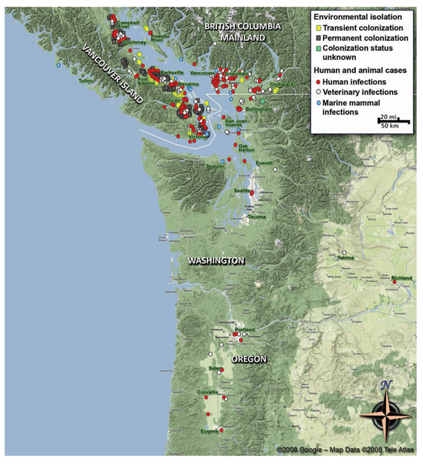 Map of the Pacific Northwest, comprising parts of British Columbia, Canada, and the states of Washington and Oregon in the United States, showing human and veterinary Cryptococcus gattii cases (including marine mammals) by place of residence or detection, and locations of environmental isolation of C. gattii during 1999–2008 (strain NIH444 [Seattle] or CBS7750 [San Francisco] not included). Data were collected from various state health departments and published reports referenced in the text. Th