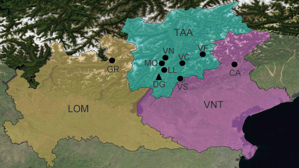 Study sites for trapping of rodents and isolation of lymphocytic choriomeningitis virus in Lombardy (LOM), Trentino-Alto Adige (TAA), and Veneto (VNT) in northern Italy, 2000–2006. GR, Grosotto/Mazzo; MO, Molveno; VN, Val Non; VC, Val Cembra; VF, Val Fiemme; LL, Laghi Lamar; DG, Dos Gaggio; VS, Val Sella; CA, Candaten. Circles indicate sites of extensive sampling and triangles indicate sites of intensive sampling. Background map: True marble by Unearthed Outdoors LLC (Madison, WI, USA) is licens