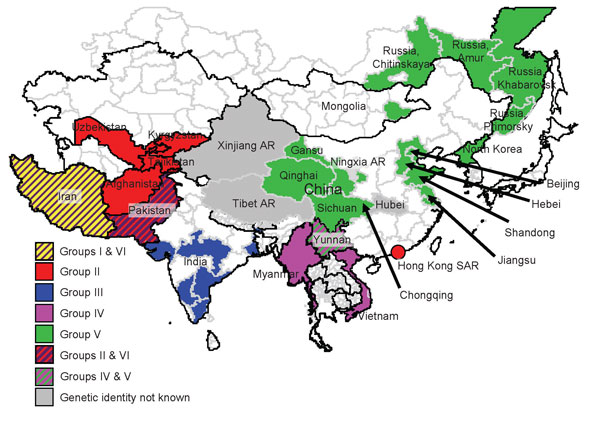 Origin (country and/or region) of isolates of foot-and-mouth disease virus serotype Asia 1 that were responsible for outbreaks in Asia during 2003–2007. The 6 different groups and their localities are indicated by different colors. AR, Autonomous Region; SAR, Special Administrative Region.