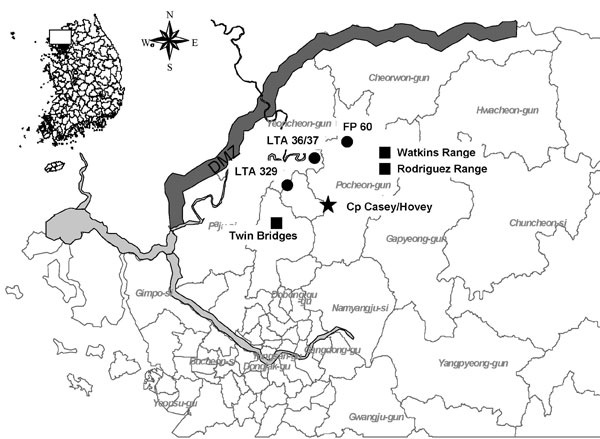 Location of training sites where hemorrhagic fever with renal syndrome (HFRS) patients 1–4 conducted training exercises 50 days before the onset of illness. Rodent surveillance was not conducted at Watkins Range due to limited exposure. DMZ, Demilitarized Zone; LTA, local training area; solid circles, military training sites of patient 1; solid squares, military training sites of patients 2, 3, 4; star, base camp.