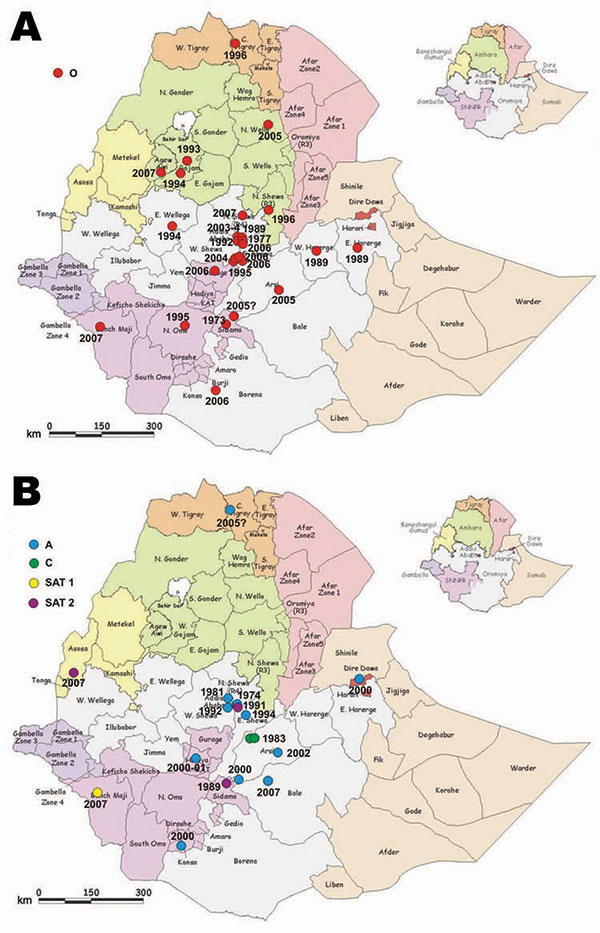 Location of cases of various foot-and-mouth disease (FMD) virus serotypes in the outbreaks of FMD, Ethiopia, 1981–2007, as evidenced by laboratory diagnosis. A) Serotype O, B) serotypes A, C, Southern African Territories (SAT) 1, and SAT 2. All boundaries are approximate and unofficial. Original map produced by United Nations Emergencies Unit for Ethiopia, 2000.