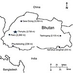 Thumbnail of Map of Bhutan. Selected cites are indicated by enclosed circle and elevation of the city in meters in parentheses.
