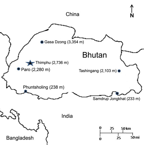 Map of Bhutan. Selected cites are indicated by enclosed circle and elevation of the city in meters in parentheses.