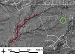 Thumbnail of Distribution of rodent trapping stations along a hiking trail in Santa Fe County, New Mexico, USA. Each red circle indicates a single trapping site that had 3 traps. Trap stations (not shown) also were placed throughout the patients' yard (green circle).