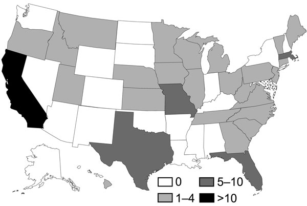 Acanthamoeba keratitis case-patients by state, USA (N = 105). *Number of interviewed case-patients per state. Because of incomplete case reporting and enrollment in case–control study, incidence rates were not calculated.