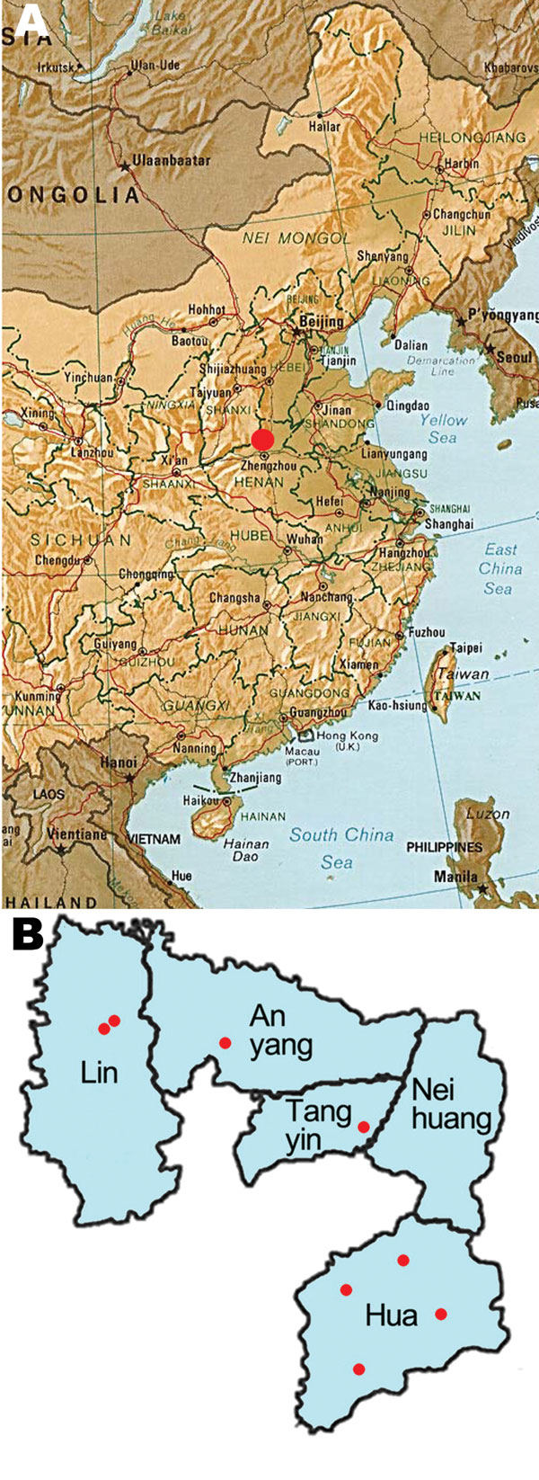 A) Map of eastern China showing the location of Anyang (red dot). B) Villages (red dots) targeted in the 2006–2008 hepatitis C virus prevalence study.