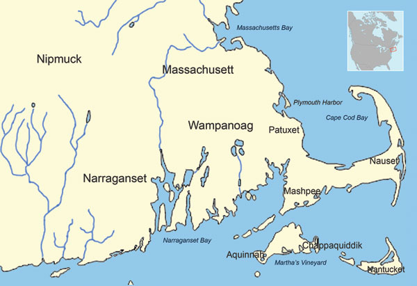 Native American tribes of southeastern Massachusetts in ≈1620.