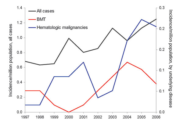 Evolution of the incidence of zygomycosis, France, 1997–2006. BMT, bone marrow transplantation.