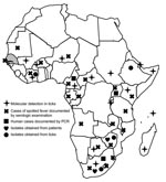 Thumbnail of Distribution of Rickettsia africae in the African continent and serologic evidence of spotted fevers in humans. Gray shading indicates location of Senegal.