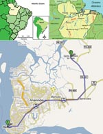 Thumbnail of A) Location of Pará State in northern Brazil; B) location of Belém region within Pará State; C) locations of 1) Santa Barbara and 2) Pau D'Arco settlements. PA-391, highway access to the municipality. Digital imaging was accessed in February 2008 at www.google.com.br/mapas.