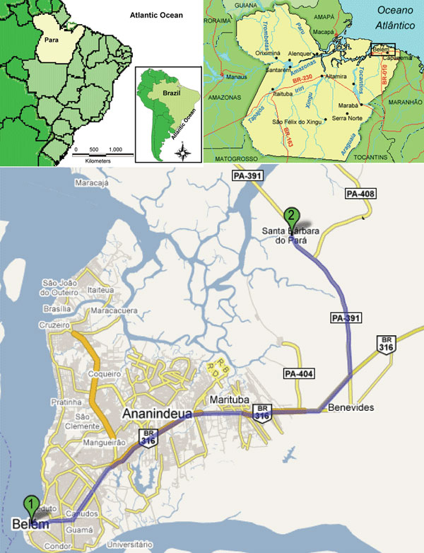 A) Location of Pará State in northern Brazil; B) location of Belém region within Pará State; C) locations of 1) Santa Barbara and 2) Pau D'Arco settlements. PA-391, highway access to the municipality. Digital imaging was accessed in February 2008 at www.google.com.br/mapas.