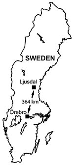 Thumbnail of Locations of the 2 tularemia outbreak areas in Sweden, showing Ljusdal and Örebro 364 km apart.
