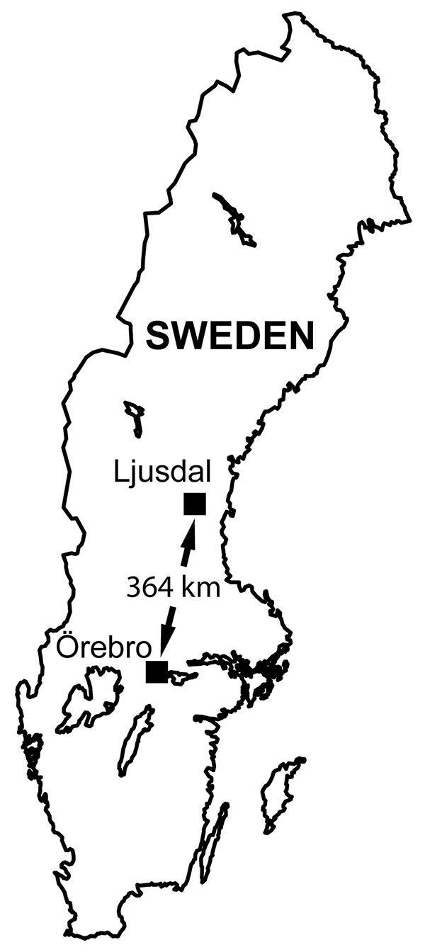 Locations of the 2 tularemia outbreak areas in Sweden, showing Ljusdal and Örebro 364 km apart.