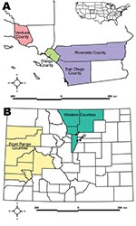 Thumbnail of A) Study locations in California. B) Study locations in Colorado. Inset shows relative locations within the United States.