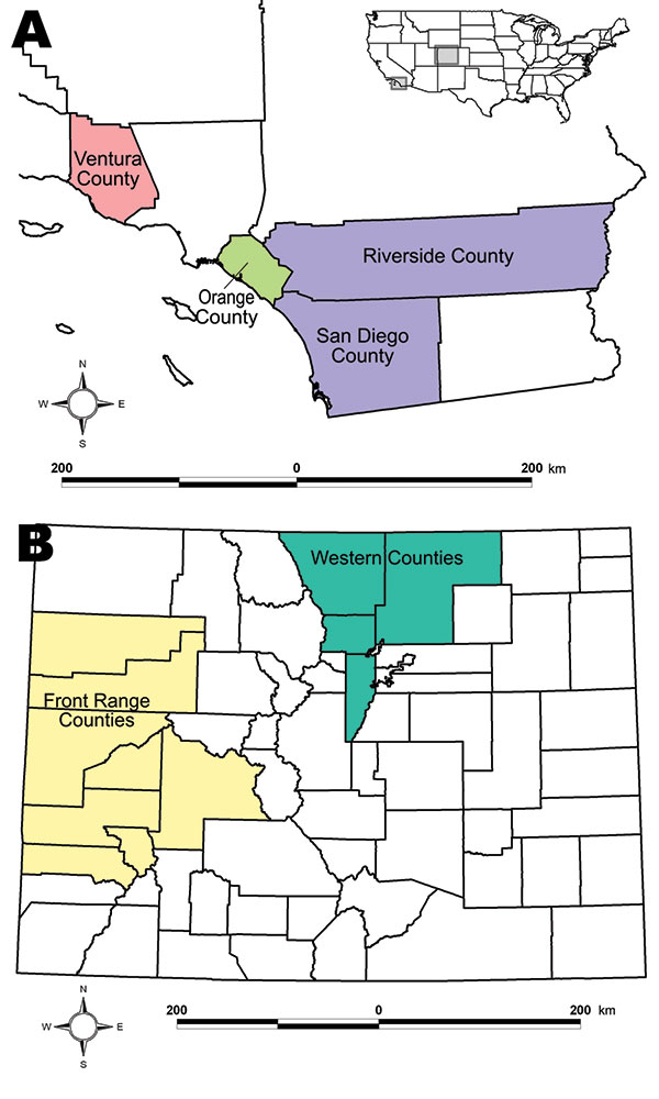A) Study locations in California. B) Study locations in Colorado. Inset shows relative locations within the United States.