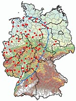 Thumbnail of Culicoides spp. monitoring area, 150-km zone restricted because of the occurrence of bluetongue disease in Germany as of January 2007 (blue border), and geographic positions of 89 black light traps (red dots).