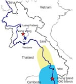 Thumbnail of Map of Laos. The area in which Schistosoma mekongi is known to be endemic is highlighted in light blue. The area highlighted in light yellow shows both the known area and the area predicted by Attwood's paleogeographic models (1) to be inhabited by Neotricula aperta (freshwater snails), the known intermediary host for S. mekongi. Two foci of travel-related schistosomiasis are also highlighted with red stars. The dark blue line shows the route of the Mekong River.