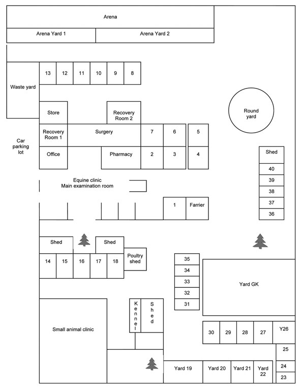 Layout of veterinary clinic where outbreak of Hendra virus infection occurred in horses, Australia, 2008. Individual horse stalls and yards are numbered 1–40. All yards are open, with yards 19–22 having a roofed shelter within.