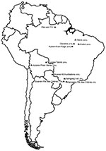 Thumbnail of Locations and respective human herpesvirus type 8 seroprevalence rates (%) of Native American populations studied, South America.