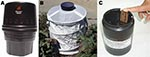 Thumbnail of MosquiTRAP version 2.0 (Ecovec Ltd., Belo Horizonte, Brazil) (A), BG-Sentinel trap (Biogents, Regensburg, Germany) (B), and an ovitrap (C) used for obtaining mosquitoes in the northwestern borough of Belo Horizonte, Minas Gerais, Brazil.
