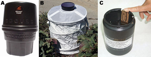 MosquiTRAP version 2.0 (Ecovec Ltd., Belo Horizonte, Brazil) (A), BG-Sentinel trap (Biogents, Regensburg, Germany) (B), and an ovitrap (C) used for obtaining mosquitoes in the northwestern borough of Belo Horizonte, Minas Gerais, Brazil.