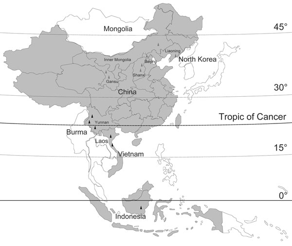 Location of new Banna viruses (BAVs) isolated in China (red triangles) and previously reported BAV isolation sites (black triangles). Countries reporting isolation of BAV are shaded. The names of the countries that are contiguous with BAV isolation sites are labeled. BAV distribution sites in Indonesia, Vietnam, and part of China are located in tropical zones, which lie predominantly between the Tropic of Cancer and the equator. Most BAV distribution sites in China in the area from the Tropic of