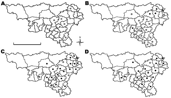 Distribution of red deer samples obtained in Belgium (Wallonia) in A) 2005, B) 2006, C) 2007, and D) 2008, and location of forest districts. White circles indicate districts where only seronegative animals were detected, and black circles indicate districts where seropositive animals were detected. Scale bar indicates 100 km.