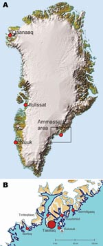 Thumbnail of A) Ammassalik area (box) in Greenland. B) Main towns in the Ammassalik area. Red circles show the main town of Tasiilaq and 5 settlements. Location of the airport is indicated. Reprinted with permission of the National Survey and Cadastre [Kort og Matrikelstyrelsen], Danish Ministry of the Environment, Copenhagen, Denmark.