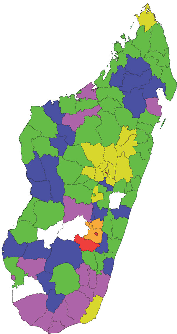 Distribution of Rift Valley fever in the 111 administrative districts in Madagascar, 2008 and 2009. 