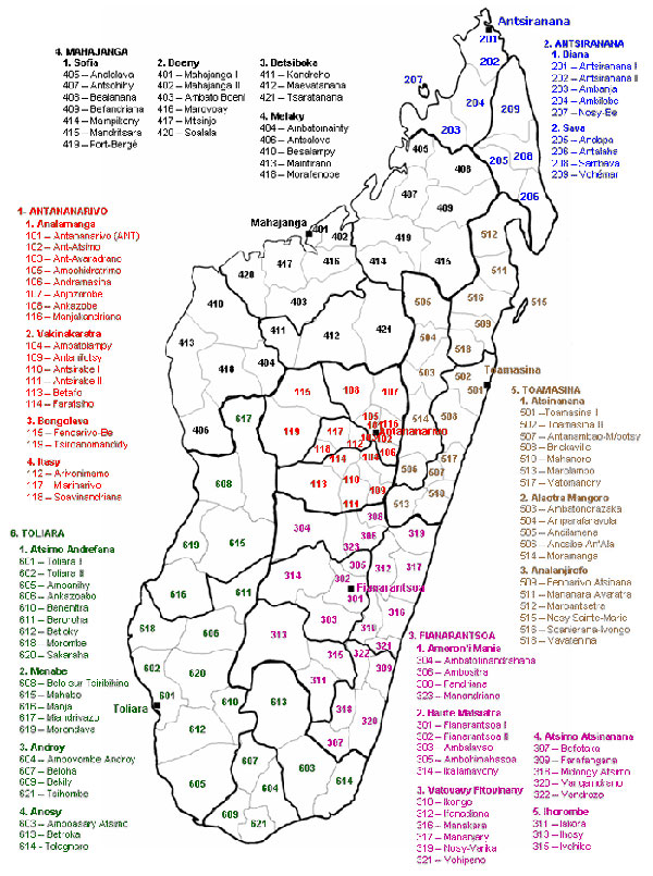 Regions and districts of Madagascar, 2008.