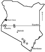 Thumbnail of Bat collection sites (open circles) and location of Kitum Cave, Kenya, where Lake Victoria Marburgvirus was detected (solid circle).
